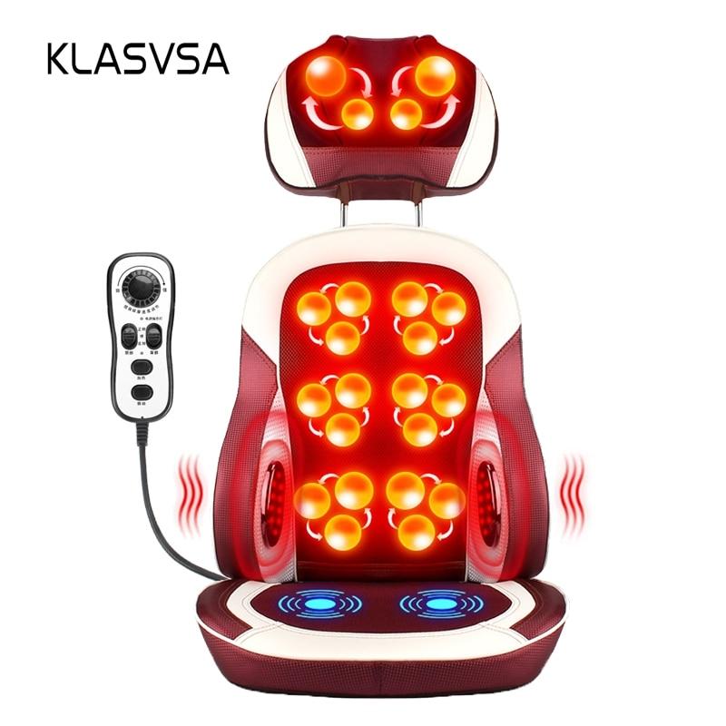 KLASVSA Elektrike e Ngrohjes Elektrike Karrige Masazh Kneading Terapia Fizike Infra të kuqe Qafa jastëk Mbrapa Masazhi Relax