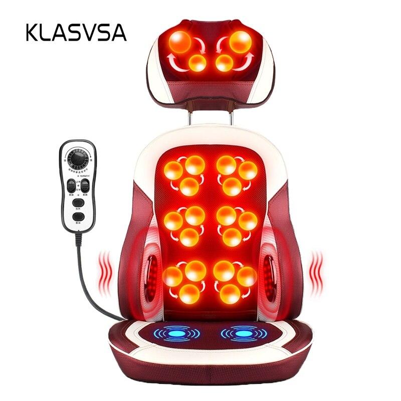 KLASVSA Eelectric Poltrona Da Massaggio Terapia Fisica Infrarossi Riscaldamento Impastare Collo Cuscino Massaggio Alla Schiena Rilassarsi Cuscino del Sedile Vibratore