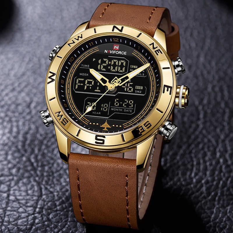 יוקרה מותג גברים NAVIFORCE 9144 זהב צבא צבאי שעון Led דיגיטלי עור ספורט שעונים קוורץ Mens שעון Relogio Masculino