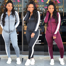 Striped TWO PIECE SET Women Tracksuits Trousers Joggers Swea