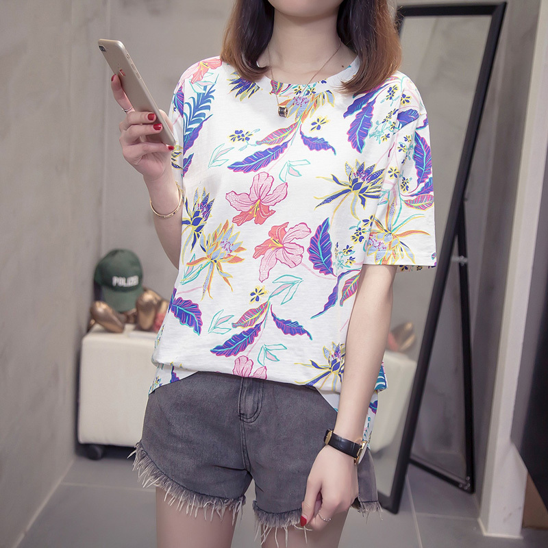Nkandby Flower Print Summer T-shirt For Woman Fashion Casual Short sleeve Ladies Tshirt 2019 New Bamboo Plus size Basic Tops 4XL 5