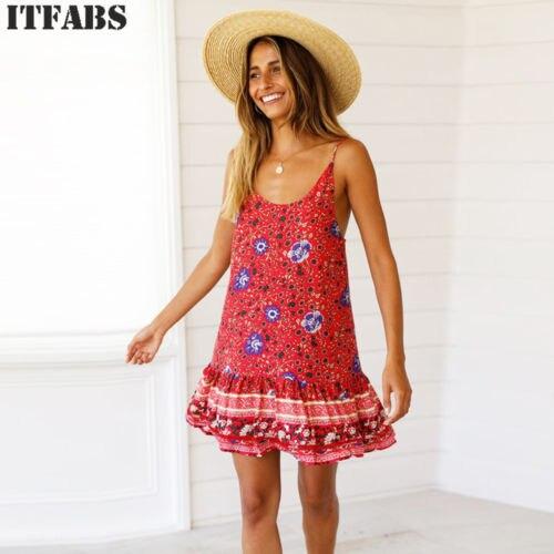 Women's Summer Boho Casual Long Maxi Evening Party Beach Dress Sundress