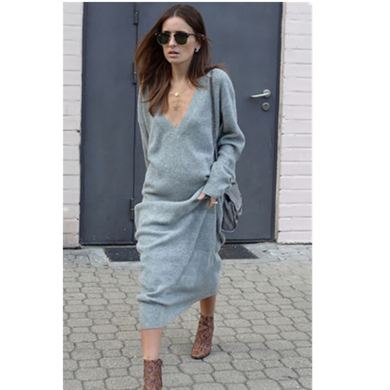autumn winter long sleeve dress women 2018 deep v neck loose long knitted dress women casual pullover female streetwear vestidos