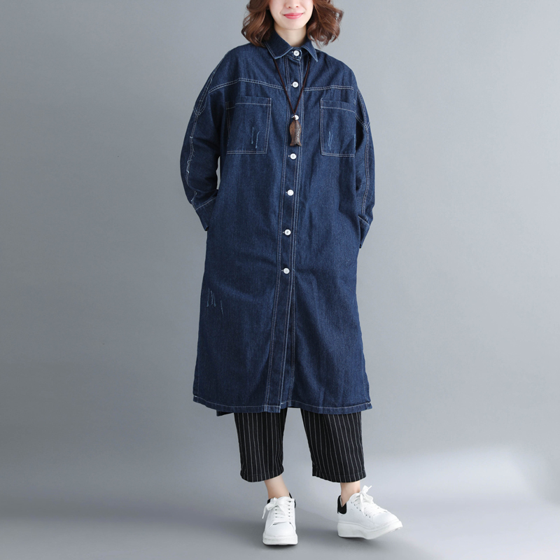 SuperAen Korean Style Denim   Trench   Coat for Women Spring New 2019 Casual Wild Windbreaker Female Solid Color Women Clothing