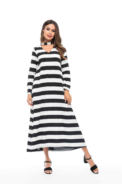 Abaya Women Stripe Maxi Choker Dress Dubai Kaftan Muslim Long Loose Islamic Robe V-neck Casual Long Sleeve Ankle-length Fashion