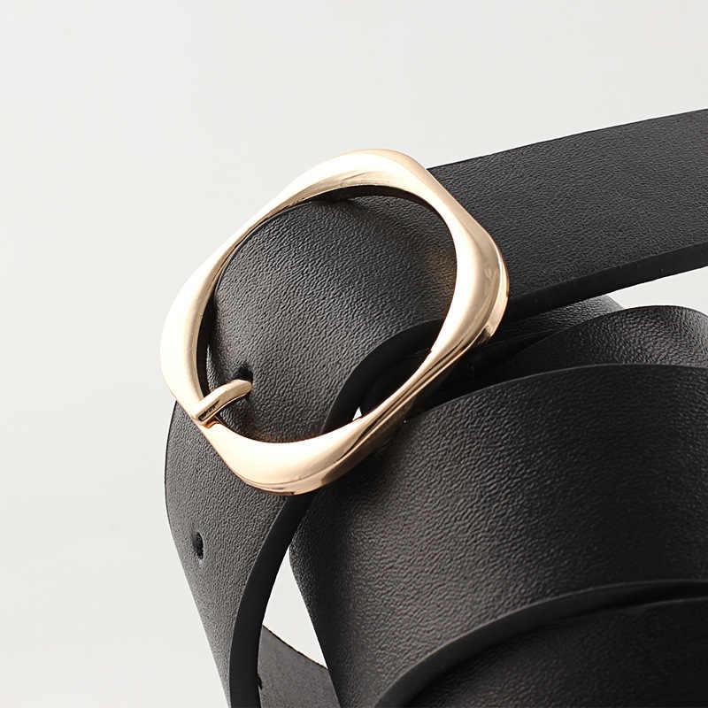 Dell'oro di modo Cinture Fibbia Rotonda Femminile Cinturino Largo In Pelle Per Il Tempo Libero Del Vestito di Jeans Della Decorazione Cinghia delle Donne Cinto Feminino