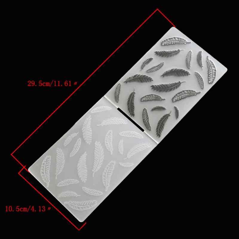 Pola Bulu Plastik Embossing Folder Cutting Dies Template Dekorasi untuk Diy Scrapbooking Album Kertas Kartu Kerajinan