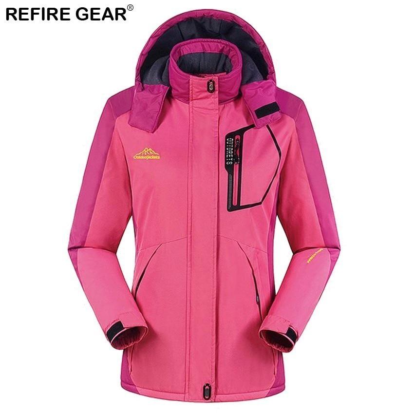 Refire Gear sports de plein air femmes hiver intérieur polaire coupe-vent veste chaude manteaux Camping Trekking randonnée Ski vestes femme - 4