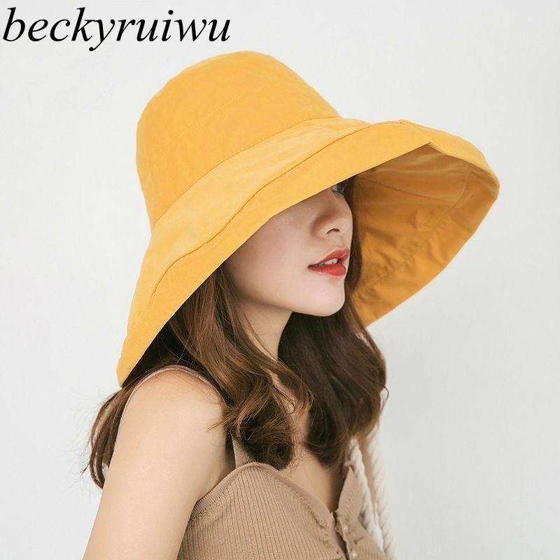 2019 Spring and Summer Big Head Plus Size Lady Sun Hats Women Outdoors Beach Large Brim Fisherman Hats Lady Plain Bucket Hat photo shoot