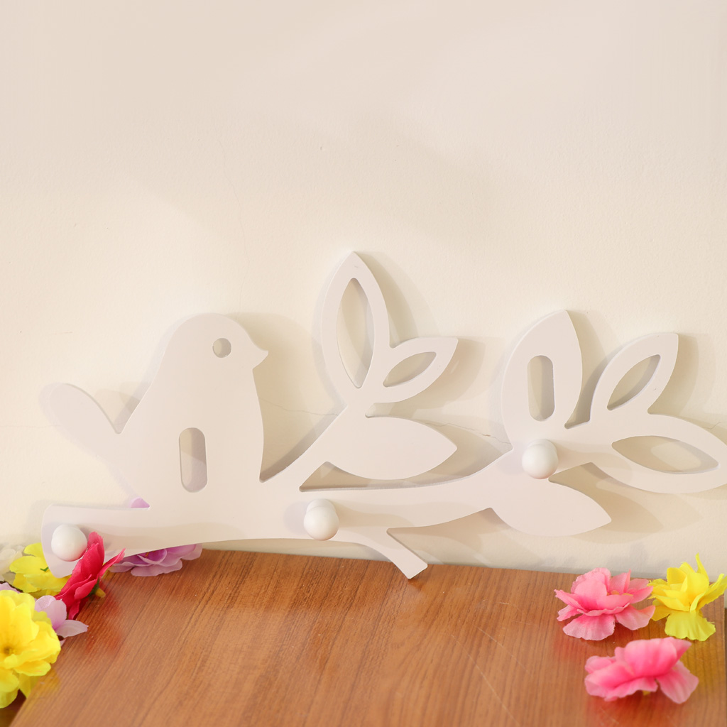 Carved Birds Design Wall Hanging 3-hook Coat Hooks Keys Hook Towel Rack Hanger Decor Shelf