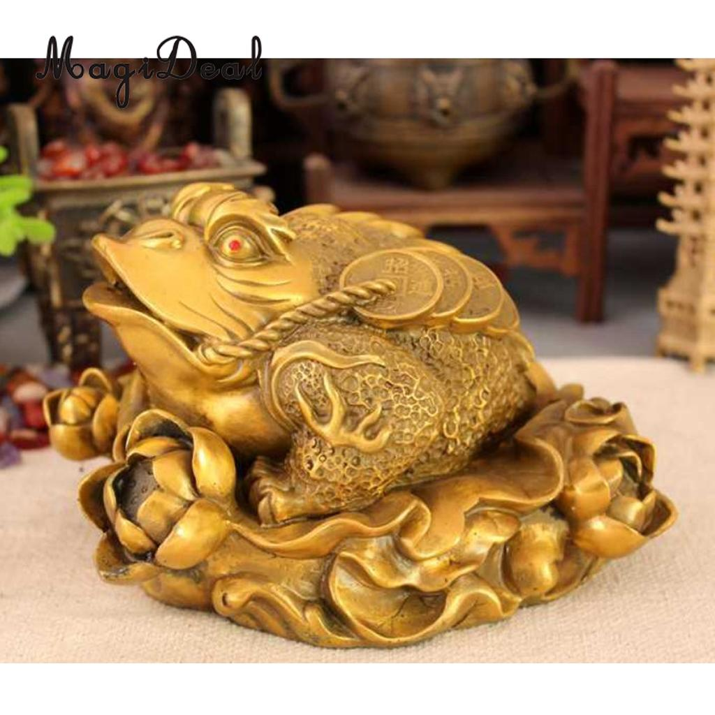 Feng Shui Toad Money LUCKY Fortune Wealth Chinese Golden Frog Toad Attaching Big Money Wealth Golds Seated on Lotus
