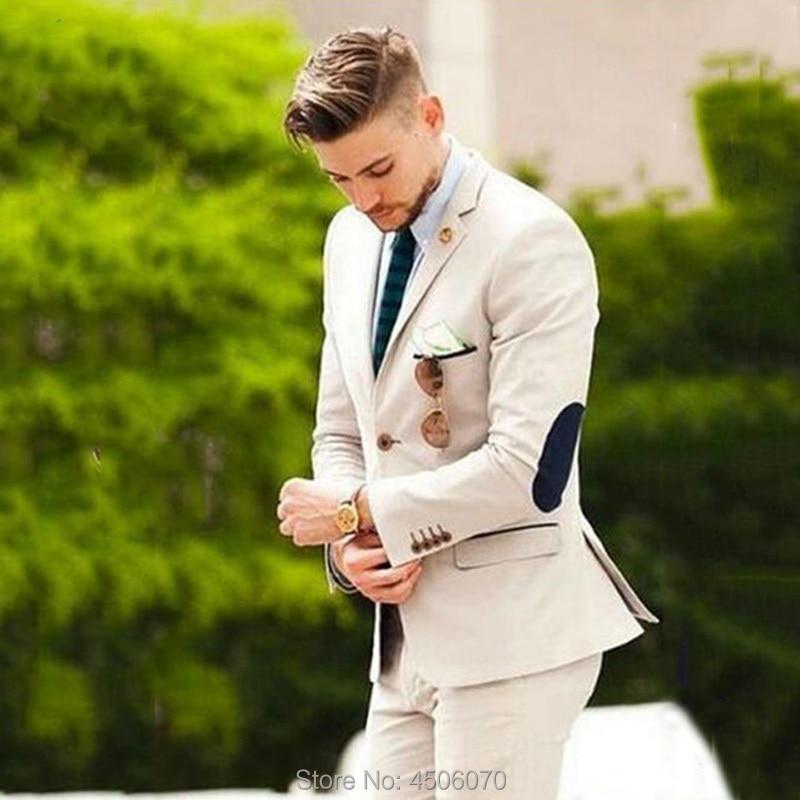 Augustonline Beige Wedding Suits Men Elbow Patches Groom Wear Tuxedo Slim Fit Casual Male Blazers 2Pieces Groomsmen Jacket Pants