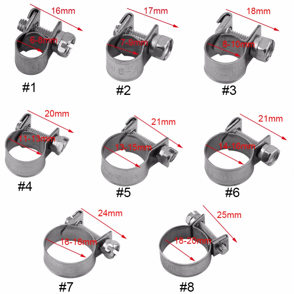 7-9Mm 10pcs Stainless Steel Mini Fuel Line Pipe Hose Clamp Clip 6mm-20mm Optional Size Hose Clamp