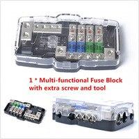 1x Car Audio Stereo Fuse Box Block 4 Way Fuse Block, 30A/60A and Battery Distribution 0/4GA Mini Multifunctional Fuse Block Box