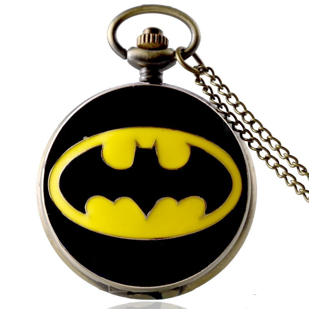 IBEINA Black Batman Watch Theme Full Hunter Quartz Engraved Fob Retro Pendant Pocket Watch Chain Gift