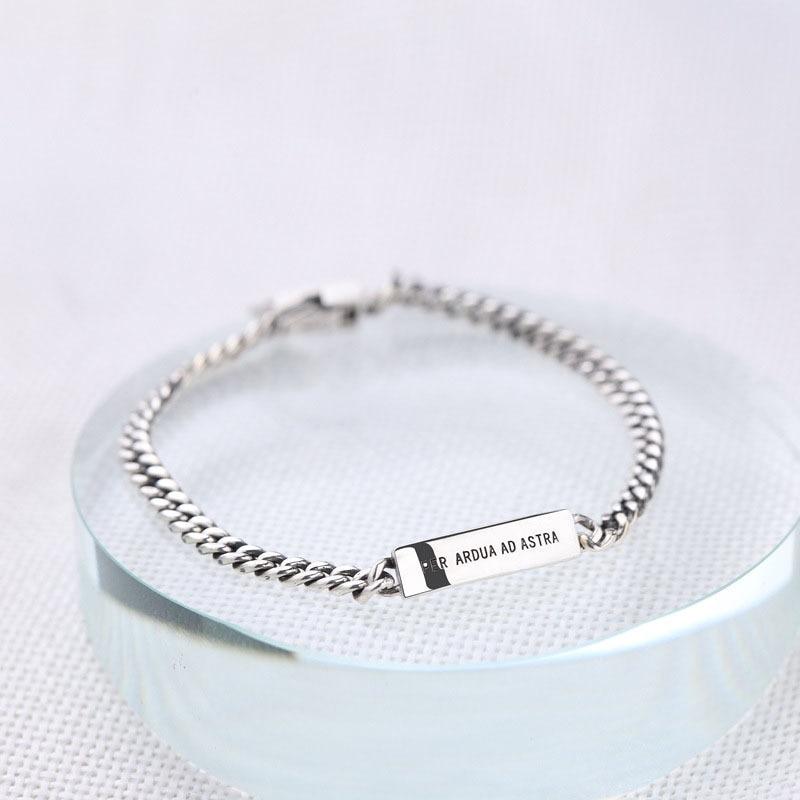 Pure 925 Sterling Silver Bracelets For Women Men Delicate Fashion Letter Chain Bangle Fine 925 Jewelry Free Shipping in Bracelets Bangles from Jewelry Accessories