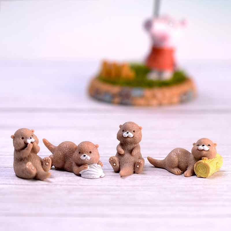 2pcs/Set Artificial Brown Otter Figurine Animal Model Home Miniature Fairy Garden Decoration DIY Accessories