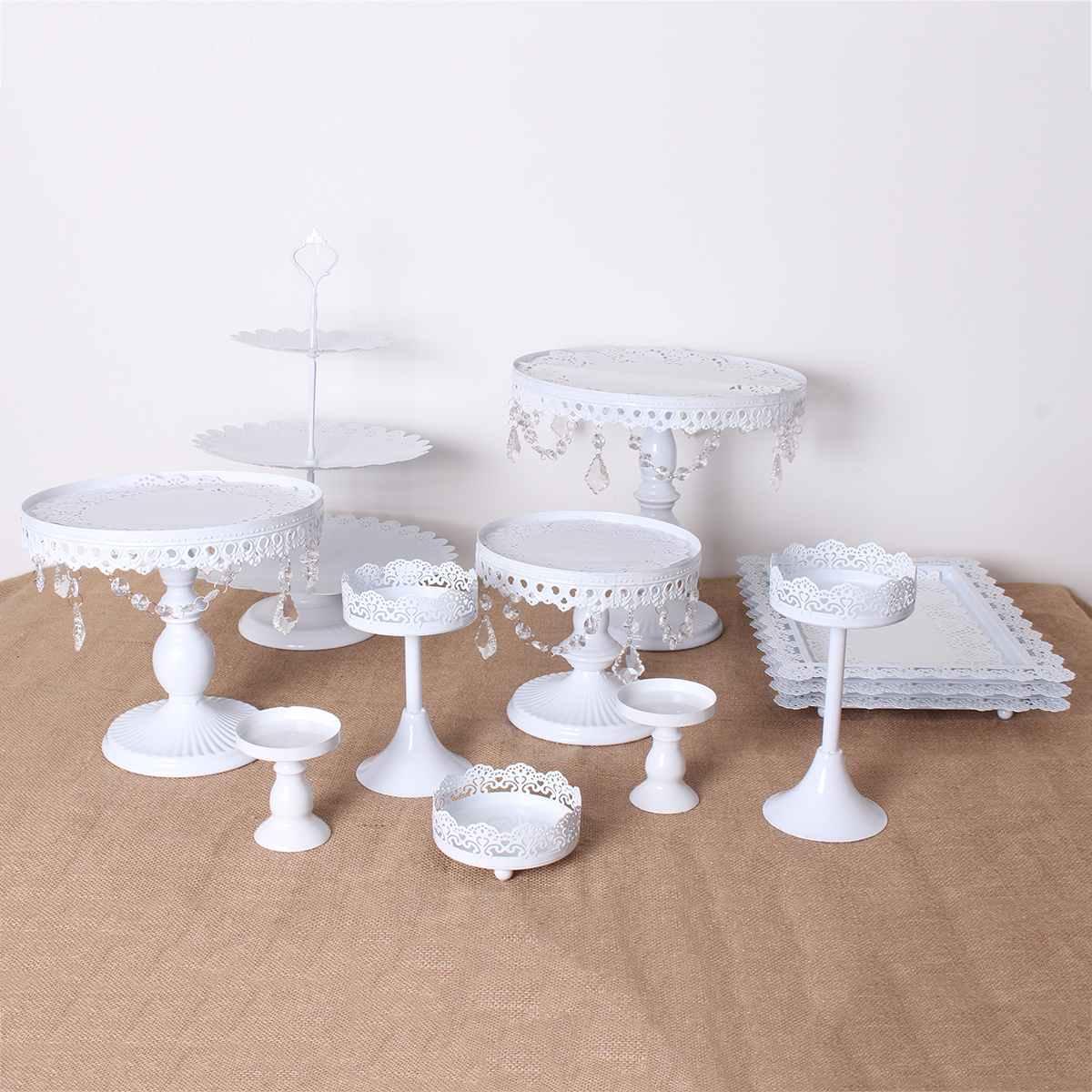 US 5Pcs Wedding Cake Stand Crystal Metal Cupcake Holder Crystal Plates Set Decor