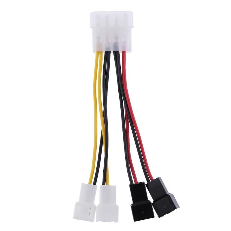 1pcs 4-Pin Molex to 3-Pin fan Power Cable Adapter Connector 12v*2 / 5v*2 Computer Cooling Fan Cables for CPU PC Case Fan