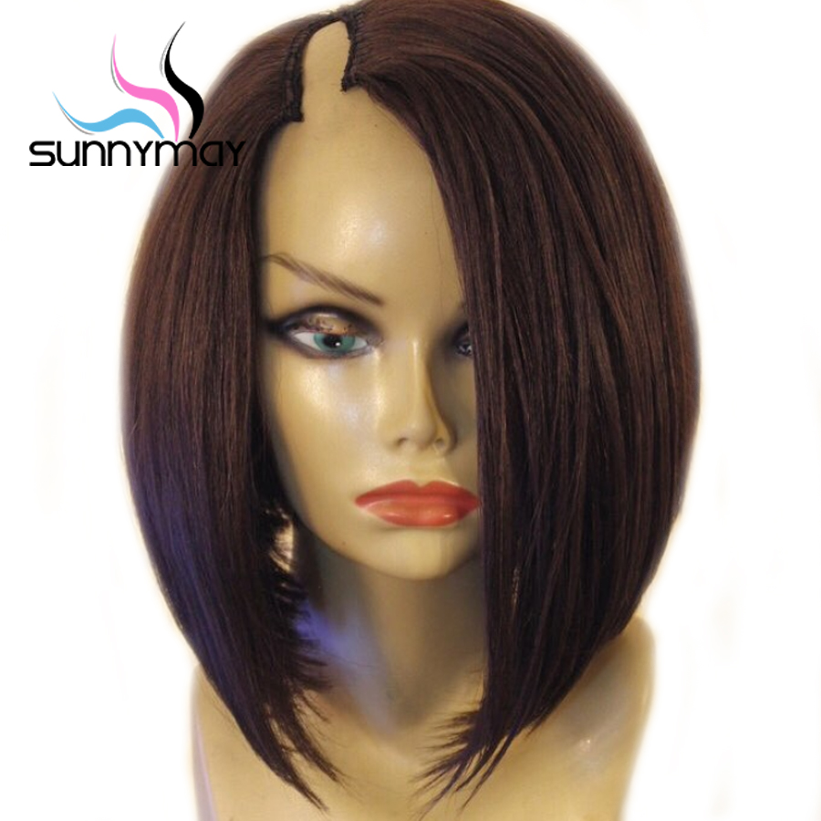 Sunnymay 1 4 U Part Wig 130 BoB Straight Wig Pre Plucked Lace Front Human Hair