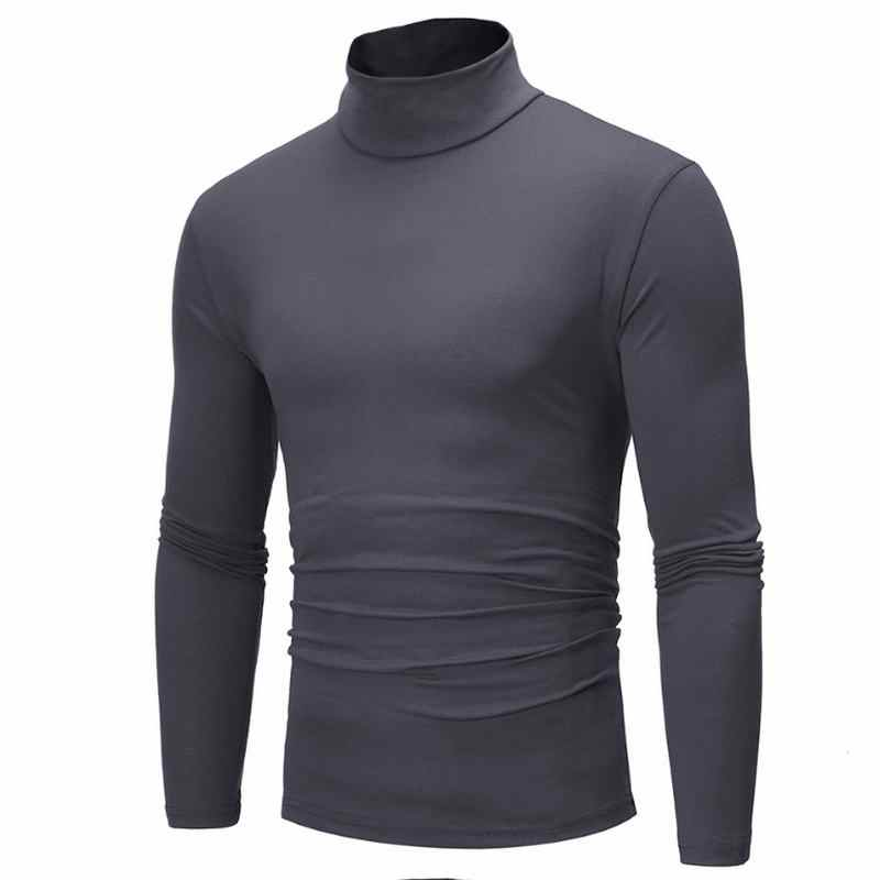 2019 New Autumn Winter Men'S Sweater Men'S Turtleneck Solid Color Casual Sweater Men's Slim Fit Brand Knitted Pullovers 7 color