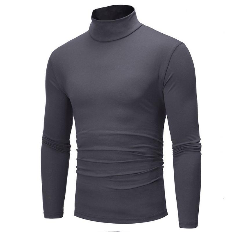 2019 Nova Outono Inverno Camisola de Gola Alta Cor Sólida Camisola Ocasional Dos Homens Dos Homens dos homens Slim Fit Marca Malha Pullovers 7 cor