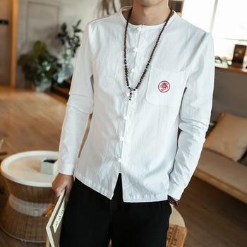 2c540bba6bc  4512 Весенняя винтажная черная белая хлопковая Льняная мужская рубашка без  воротника в китайском стиле Повседневная рубашка в стиле ретро с .
