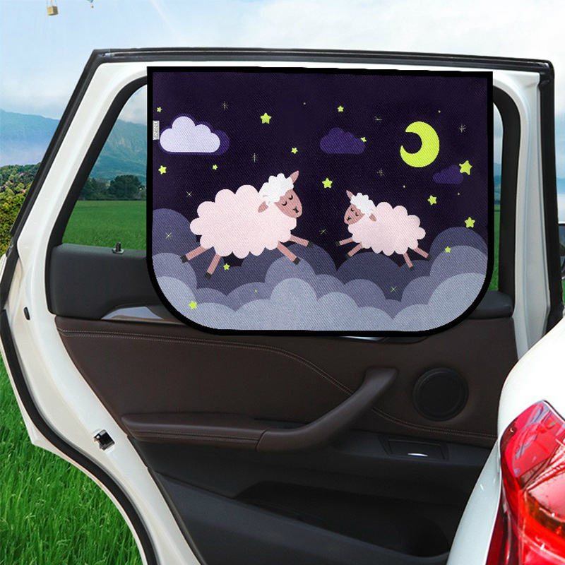 MULSN 2pcs Magnetic Car Sun Shade Car Curtains with Suction Cup Car Sunshades Protector Car Front Side Window Sunshade Black 2
