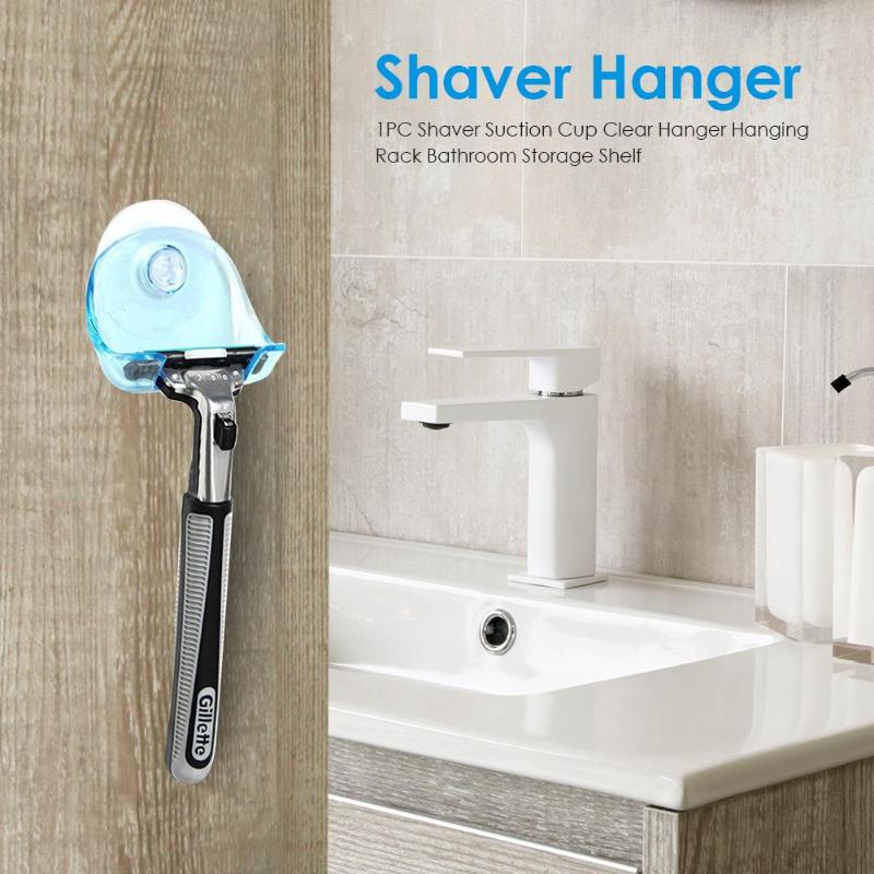 1PC Suction Cup Shaver Rack Clear Wall Mounted Shaver Hanging Rack Storage Shelf Bathroom Razor Holder