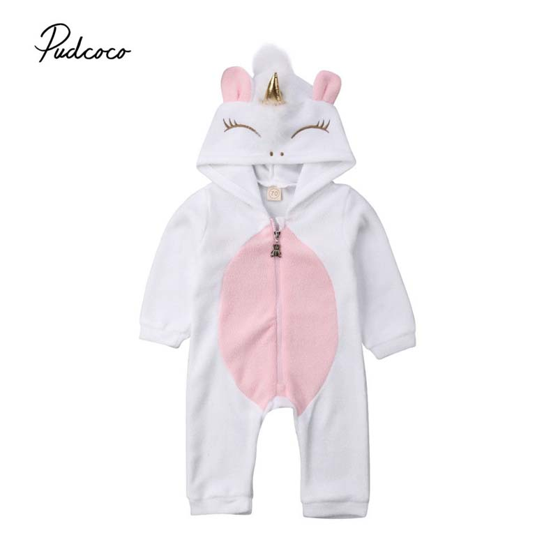 2019 Lovely Newborn Baby Boy Girl Hooded   Romper   New Winter Cartoon Unicorn Costume Jumpsuit Fleece Outfits Bebe Clothes 0-24 M