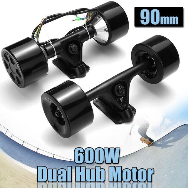 Daya Tinggi Double Drive Skuter Hub Motor Kit DC Brushless Motor Roda Remote Control untuk Skateboard Listrik 600 W