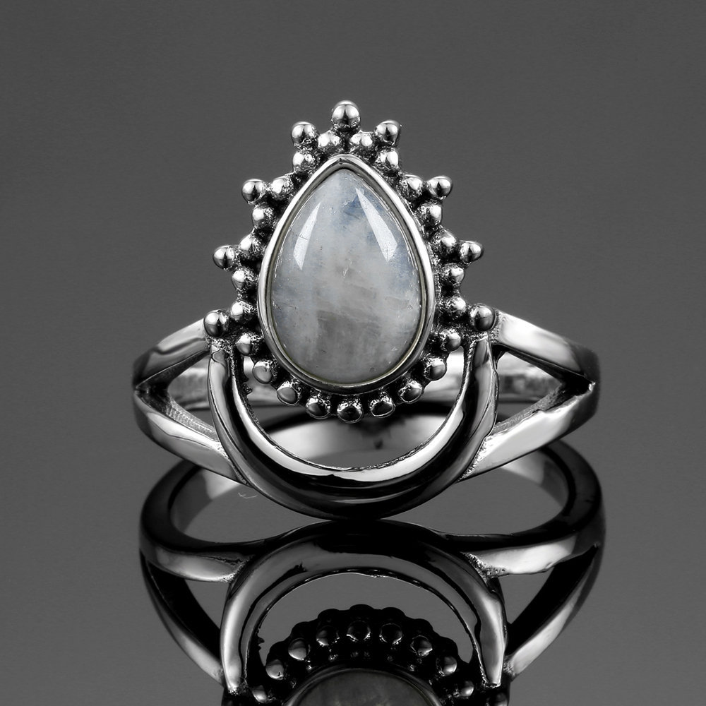 New Vintage 925 Silver Jewelry Finger Rings For Men Women 7x9MM Water Drop Natural Moonstones Weeding New Vintage 925 Silver Jewelry Finger Rings For Men Women 7x9MM Water Drop Natural Moonstones Weeding Anniversary Party Gifts