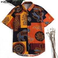 Этнические Аладдин мужские рубашки платье короткий рукав Slim Fit Гавайская уличная футболка повседневные пляжные рубашки Camisas одежда 3XL отдых
