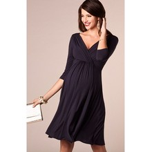 ENXI Christmas Pregnant Women Evening Party Dress Elegant Summer Lady Dress Maternity Clothes Plus Size V-Neck Maternity Dresses