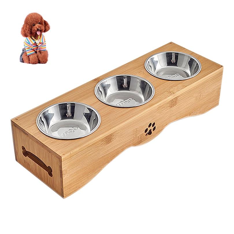 Petacc 3 dans 1 Support En Bambou bols pour animaux de compagnie Durable Ensemble acier inoxydable gamelle pour chat écologique gamelle pour chien pour Chats et Chiens