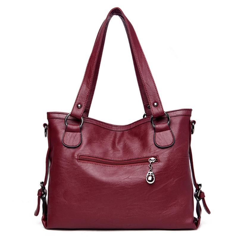 Image 4 - Retro Large Women Handbags Fashion PU Leather Shoulder Bag Female Large Tote Handbag Ladies Shoulder Bag-in Shoulder Bags from Luggage & Bags
