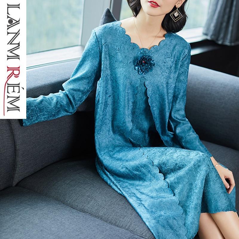 Femmes Robe Mode Faux De gray Plissée Femelle Été Personnalité Vêtements Pour Blue cardinal Printemps Nouvelle Lanmrem Yg549 Deux 2019 apricot Pièces oerxdBQCW