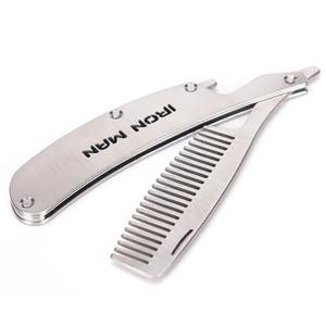 Image 2 - Pente de cabelo novo dedicado masculino aço inoxidável dobrável pente conjunto mini bolso pente barba ferramenta cuidados conveniente e uso escova de cabelo