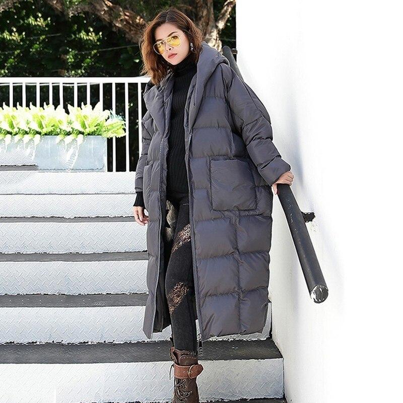 Tendance À Manteaux Épais Plus Femelle Parkas gray Coat De Vêtements Lâche D'hiver Capuchon Mode Coat Coat Longues Femmes green Manteau Grande Taille Manches Chicever Black ZqxwW845F