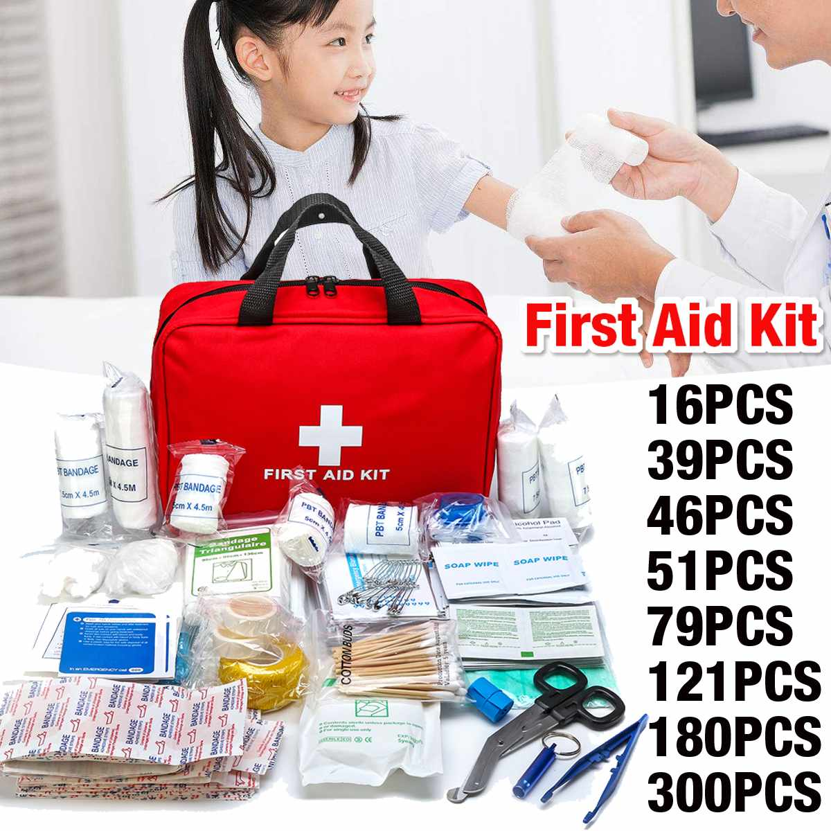 Portable Medium Empty Household Multi-Layer First Aid Kit Pouch Outdoor Car Bag First Aid Bag 16/39/46/51/79/121/180/300PCS(China)