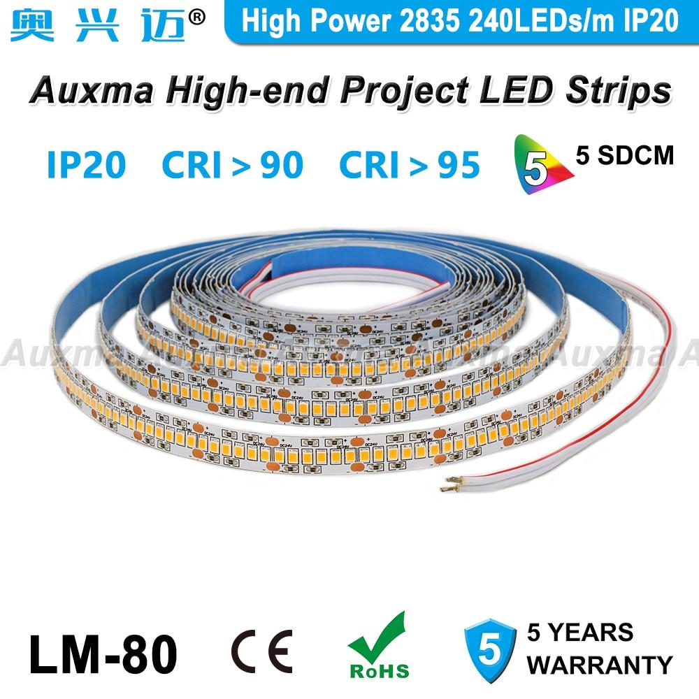 alta potencia 2835 240 leds m led strip cri95 cri90 pcb largura 12mm ip20 dc24v 38