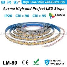 High Power 2835 240 LEDs/m LED Streifen, CRI95 CRI90, PCB Breite 12mm, IP20 DC24V, 38,4 W/m 1200LED/Reel, Nicht-wasserdicht für Konferenz halle