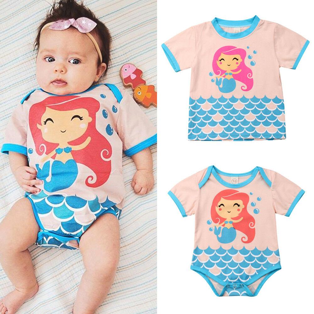 Mermaid Pig Toddler Baby Girls Cotton Ruffle Short Sleeve Top Soft T-Shirt 2-6T
