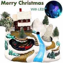 Christmas Scene Music Box With LED Night Light Toy Moving Train Christmas Tree Snow Santa Claus Home Decor Crafts Music Box Gift(China)