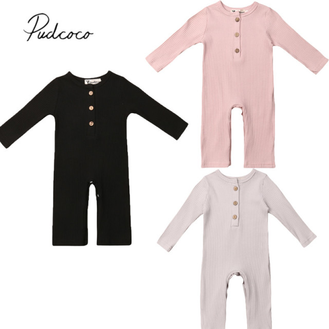 90e32f201bb 2019 Brand New Newborn Infant Kids Baby Girls Boys Knit Romper Solid Long  Sleeve Button Autumn