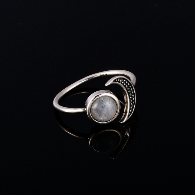 Original design moon shape adjustable open ring natural moonstone female top fashion 925 silver jewelry wedding ring wholesale