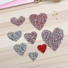 Разноцветные стразы с кристаллами разных размеров, нашивки с сердечками для одежды, аппликации в полоску, бриллиантовые наклейки