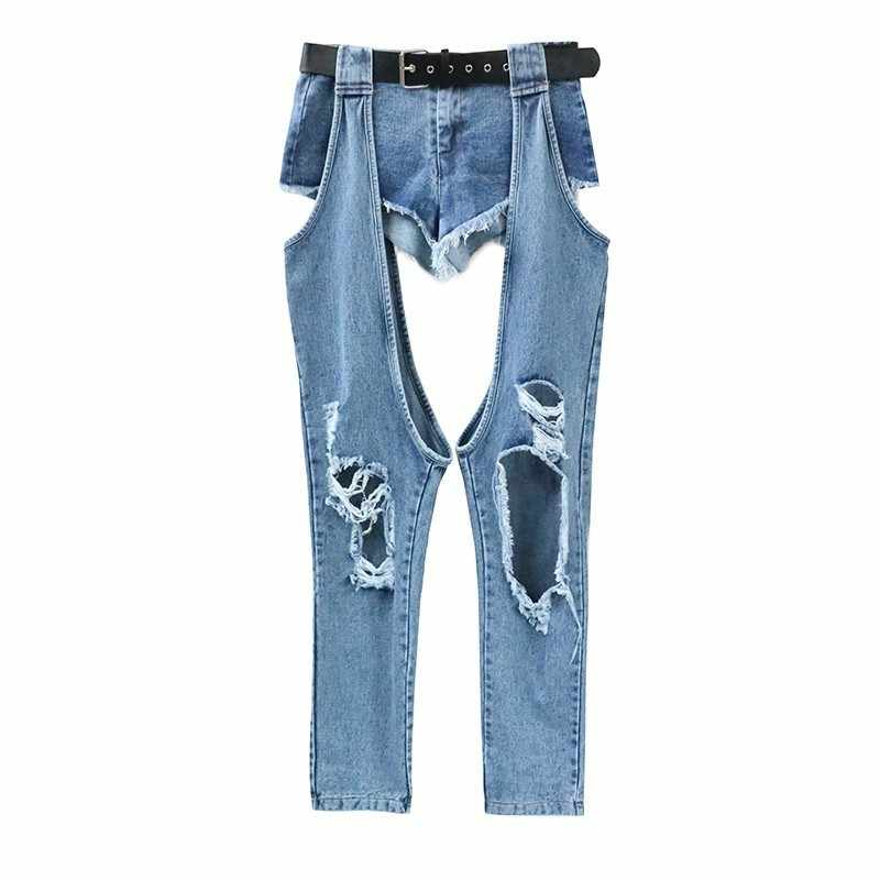 GALCAUR джинсы для Для женщин высокое пояса с «дырками» Irregual в стиле пэчворк джинсовые брюки для девочек в Корейском стиле Модные 2019 Весенняя Новинка