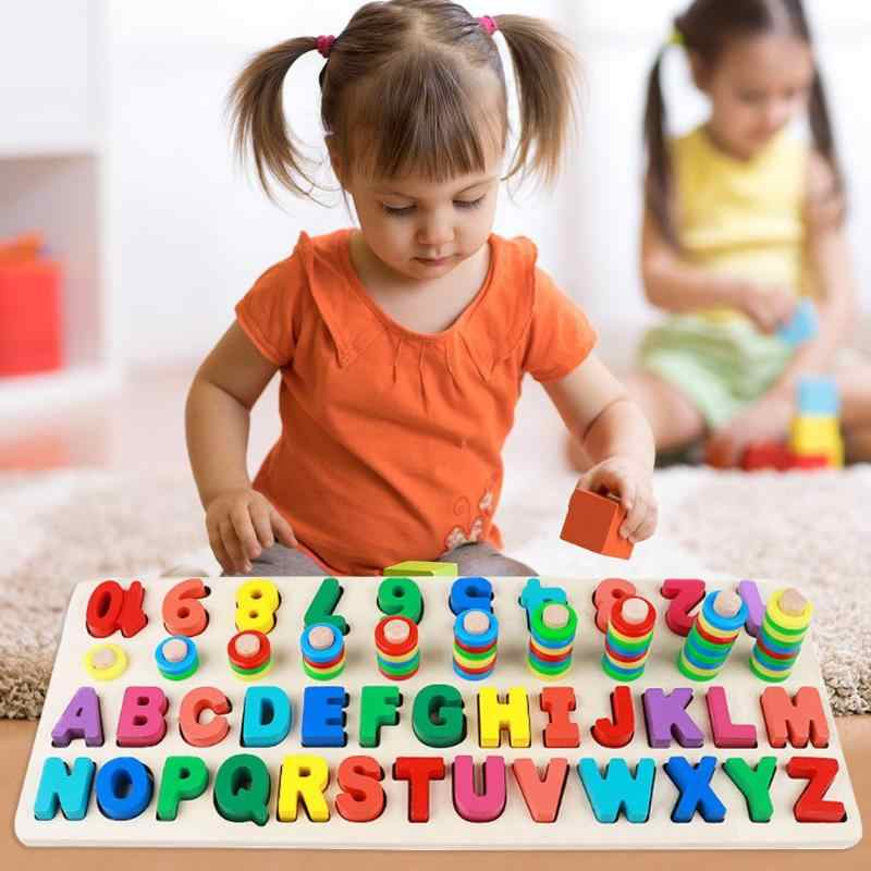 Wooden Three-in-one Math Letter Board Child Early Educational Puzzle Toys