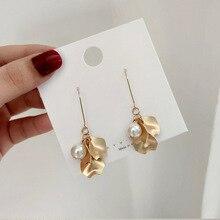 2019 Korea Earrings Pearl Vintage Gold Dangle Earrings For Women Geometric Drop Earring Big DIY Wedding Irregular Pearl Jewelry цена и фото